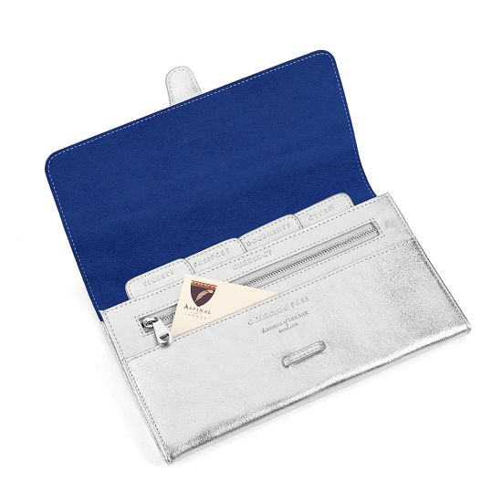 c262b717cccb6 Classic Travel Wallet in Smooth Metallic Silver   Navy Suede from Aspinal  of London ...