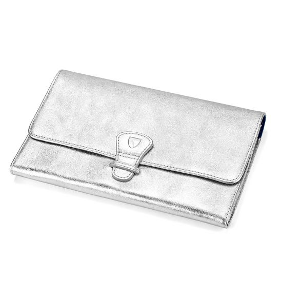 101afb10dfd60 ... Classic Travel Wallet in Smooth Metallic Silver   Navy Suede from  Aspinal of London ...