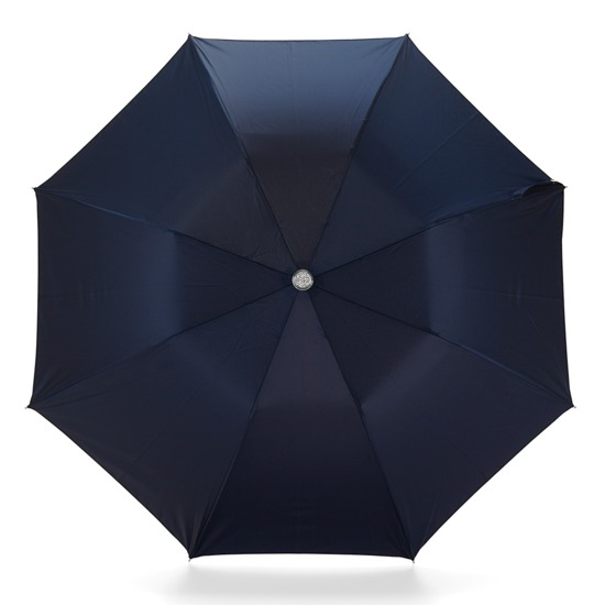 Mens Compact Umbrella with Wooden Handle in Navy Blue from Aspinal of London
