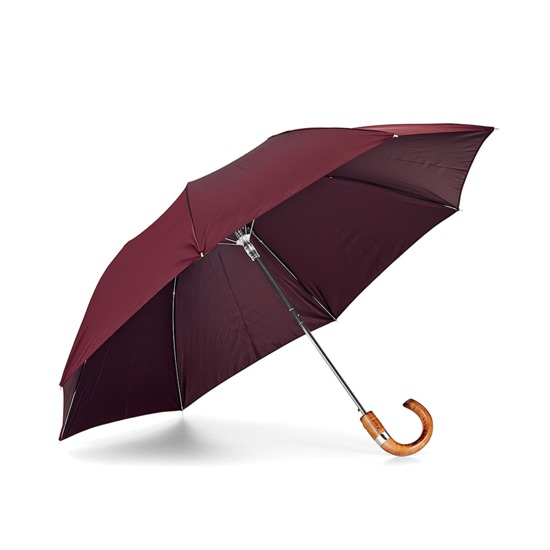 Mens Compact Automatic Umbrella with Wooden Handle in Burgundy from Aspinal of London
