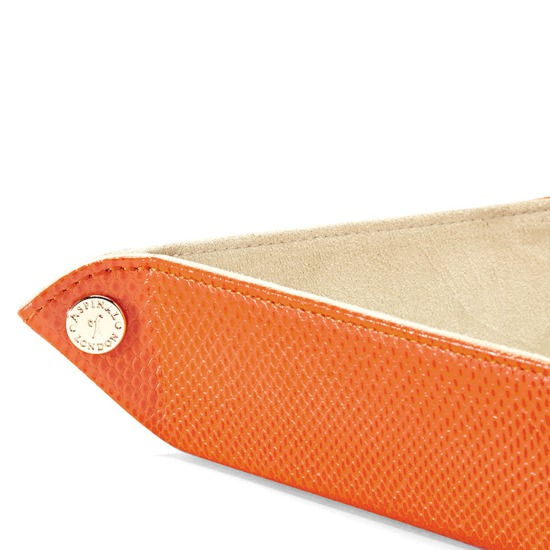 Medium Tidy Tray in Orange Lizard & Cream Suede from Aspinal of London