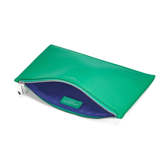 Large Essential Flat Pouch in Grass Green Pebble from Aspinal of London