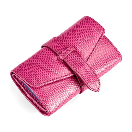 Travel Jewellery Roll in Raspberry Lizard from Aspinal of London