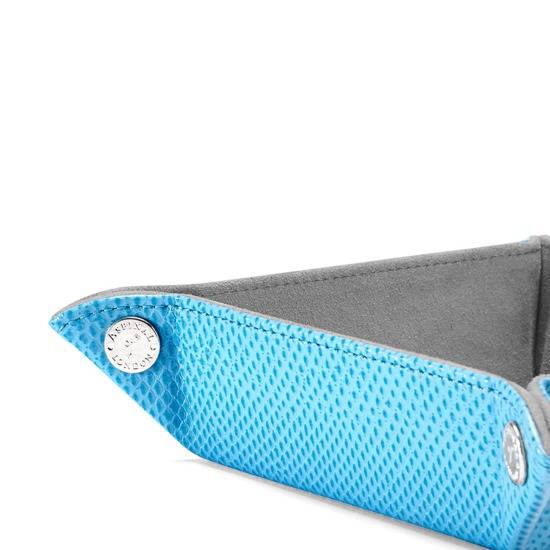 Mini Tidy Tray in Aquamarine Lizard & Silver Suede from Aspinal of London