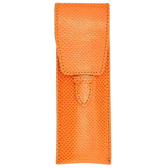 Small Pen Case in Orange Lizard & Cream Suede from Aspinal of London