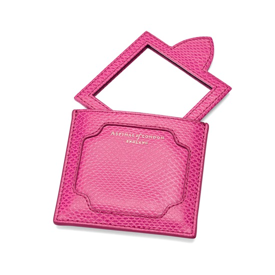 Marylebone Compact Mirror in Raspberry Lizard from Aspinal of London