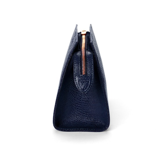 Medium Cosmetic Case in Midnight Blue Lizard from Aspinal of London
