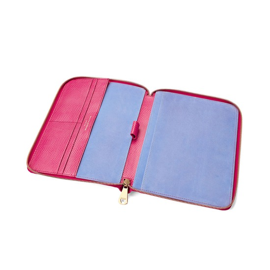A5 Zipped Padfolio in Raspberry Lizard & Pale Blue Suede from Aspinal of London