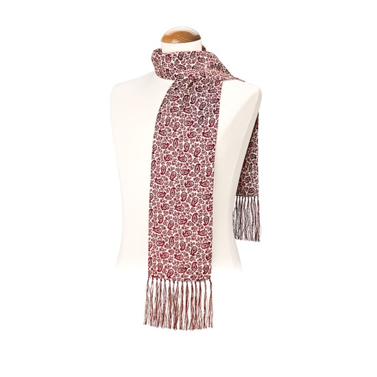Men's Paisley Silk Scarf in Berry Red from Aspinal of London