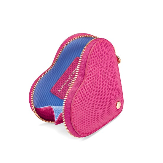 Heart Coin Purse in Raspberry Lizard from Aspinal of London