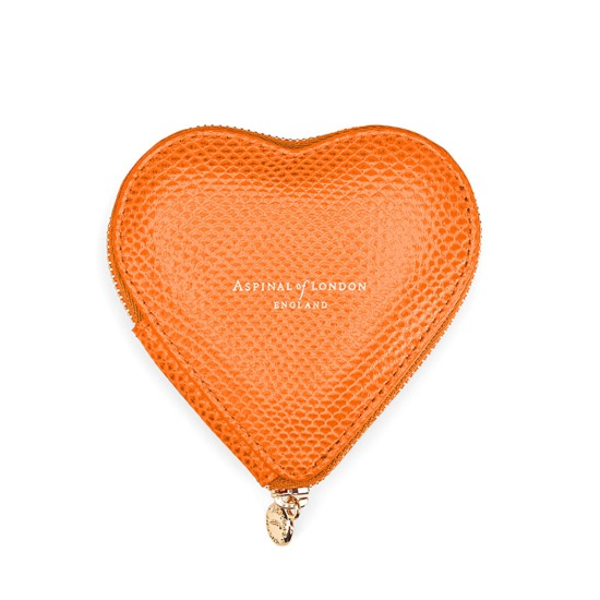 Heart Coin Purse in Orange Lizard from Aspinal of London