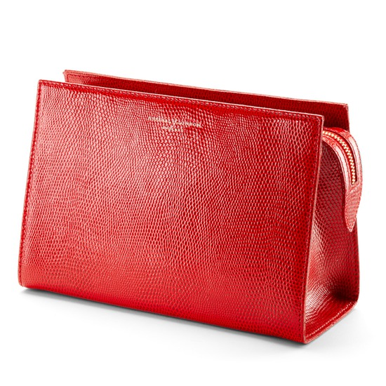 Medium Cosmetic Case in Berry Lizard from Aspinal of London