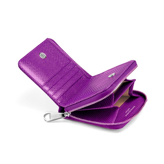 ba89db07c9dc ... Mini Continental Zipped Coin Purse in Violet Lizard from Aspinal of  London