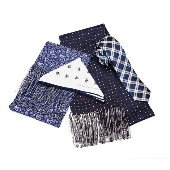 Men's Paisley Silk Scarf in Cobalt Blue from Aspinal of London