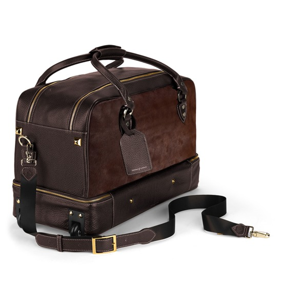 Portofino Rolling Travel Bag in Brown Calfskin & Brown Haircalf from Aspinal of London
