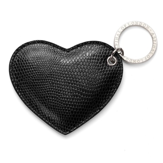 Heart Key Ring in Jet Black Lizard from Aspinal of London