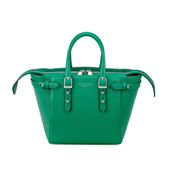 Mini Marylebone Tote in Grass Green Pebble from Aspinal of London