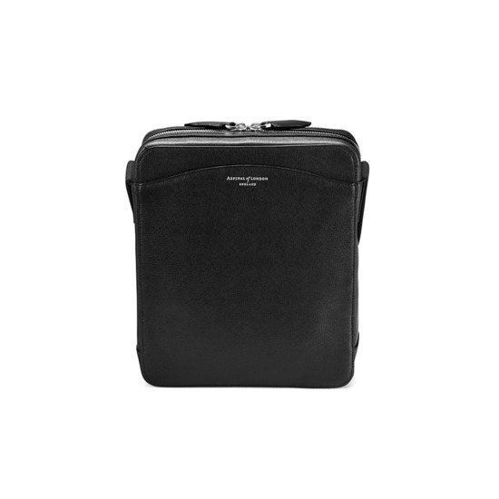 Anderson Midi Messenger Bag in Black Saffiano from Aspinal of London