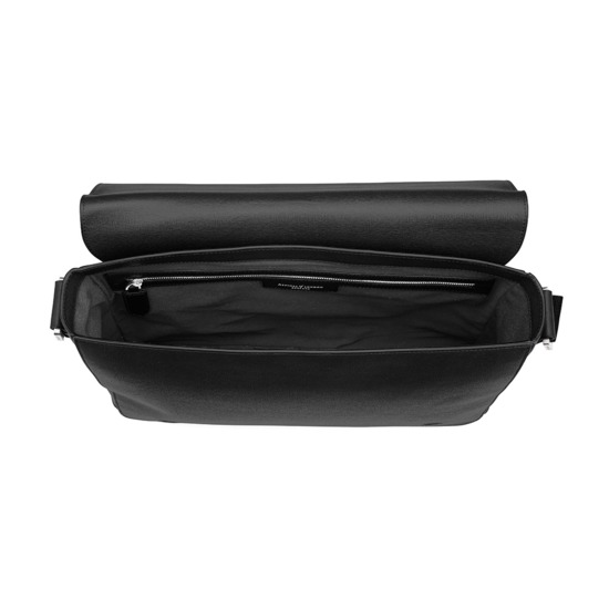 Anderson Large Messenger Bag in Black Saffiano from Aspinal of London
