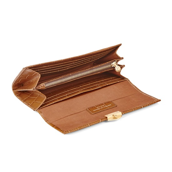 Mayfair Purse in Deep Shine Vintage Tan Croc from Aspinal of London