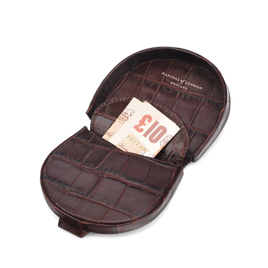 Horseshoe Coin Holder in Deep Shine Amazon Brown Croc from Aspinal of London