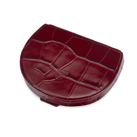 Horseshoe Coin Holder in Deep Shine Bordeaux Croc from Aspinal of London