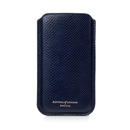 iPhone 6 Plus Leather Sleeve in Midnight Blue Lizard from Aspinal of London