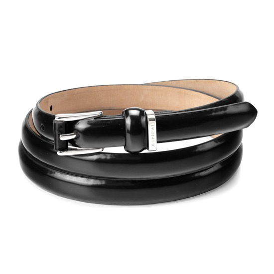 Ladies Skinny Westbourne Belt in Black Polish with Silver Buckle from Aspinal of London