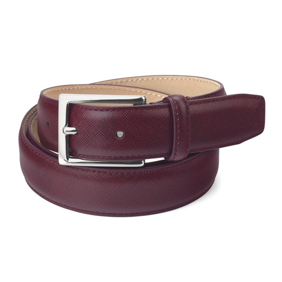 Men's Borough Belt in Bordeaux Saffiano from Aspinal of London