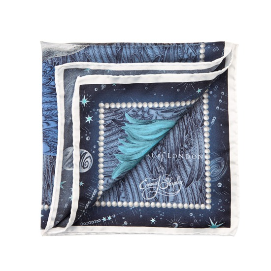Pegasus Silk Twill Pocket Square in Midnight Blue from Aspinal of London