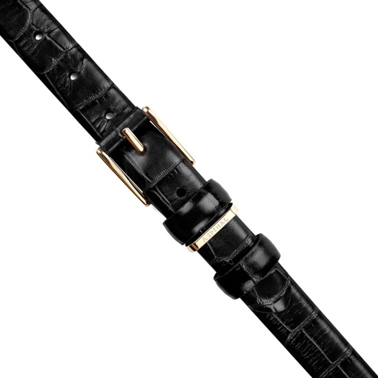Ladies Westbourne Belt in Deep Shine Black Croc from Aspinal of London