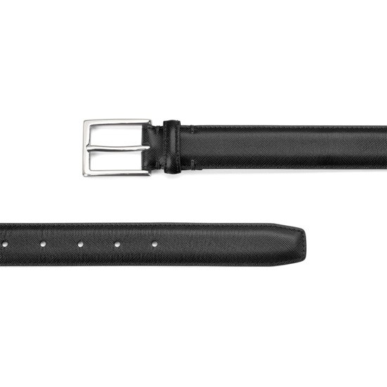 Men's Borough Belt in Black Saffiano from Aspinal of London