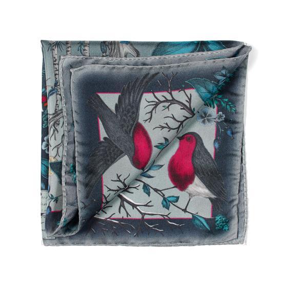 Robin Silk Twill Handkerchief in Midnight Blue from Aspinal of London