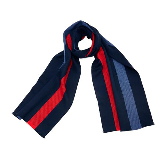 University Stripe Merino Wool Scarf in Navy, Red, & Blue from Aspinal of London