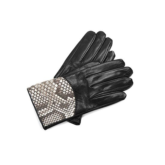 Ladies Python Leather Gloves in Black Nappa & Natural Python from Aspinal of London