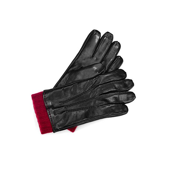 Mens Leather Gloves with Knitted Cuff in Black Nappa & Bordeaux Knit from Aspinal of London