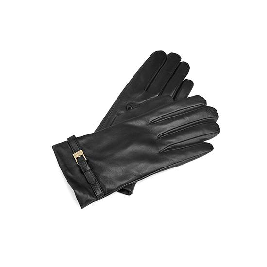 Ladies Cashmere Lined Leather Gloves with Buckle in Black from Aspinal of London