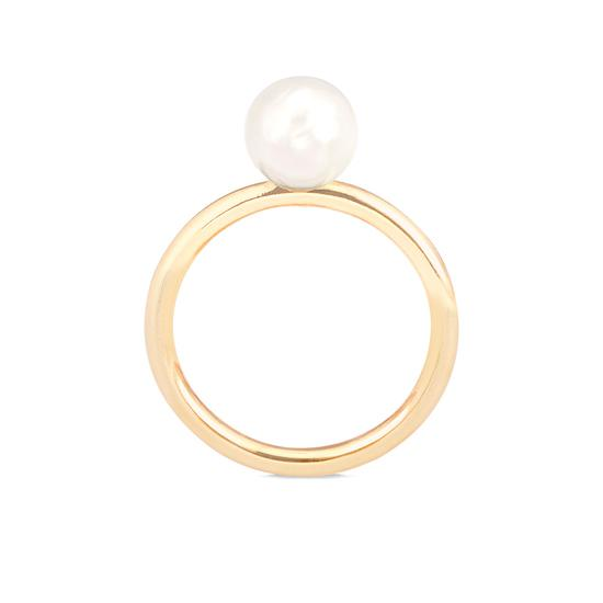 8mm White Japanese Akoya Pearl Ring from Aspinal of London