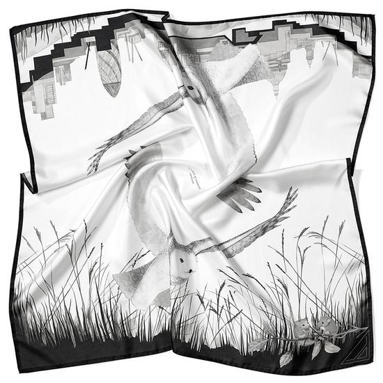 Owl in the City Silk Scarf in Monochrome from Aspinal of London