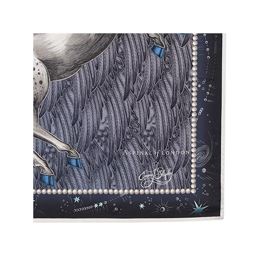 Pegasus Feather Silk Twill Scarf in Midnight Blue (27.5
