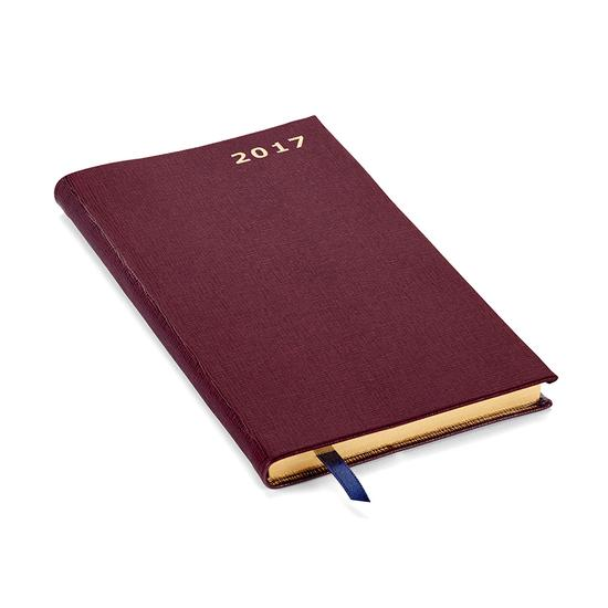 Slim Pocket Week to View Leather Diary in Burgundy Saffiano from Aspinal of London