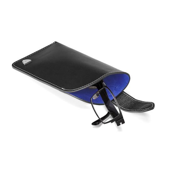 f9bc168fd49 ... Slimline Glasses Case in Smooth Black   Cobalt Blue Suede from Aspinal  of London