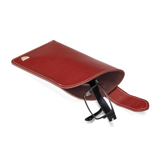 Slimline Glasses Case in Smooth Cognac & Espresso Suede from Aspinal of London