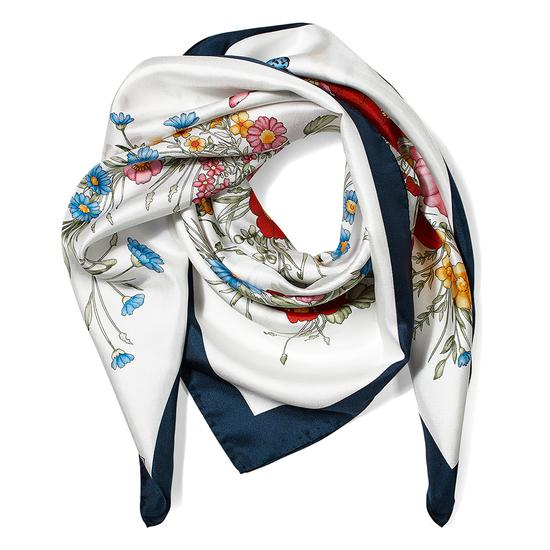 Bouquet of Flowers Silk Scarf in Midnight Blue from Aspinal of London