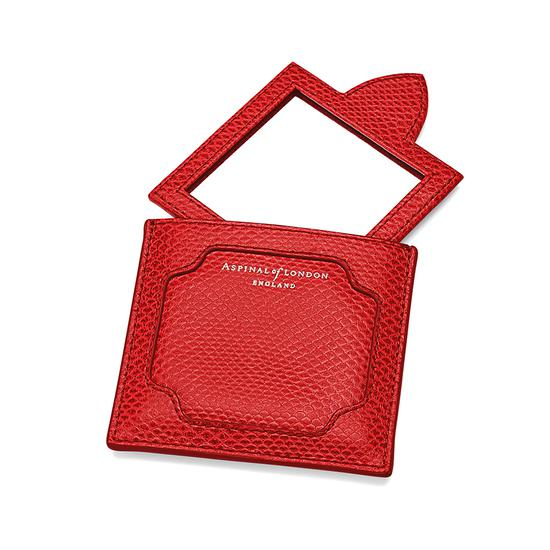 Marylebone Compact Mirror in Berry Lizard from Aspinal of London