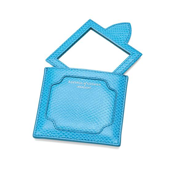 Marylebone Compact Mirror in Aquamarine Lizard from Aspinal of London