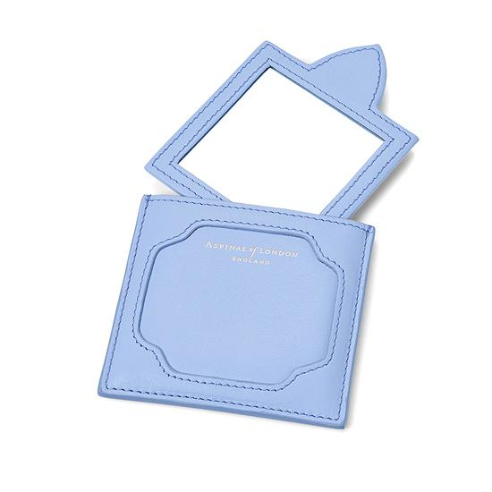 Marylebone Compact Mirror in Smooth Misty Blue from Aspinal of London