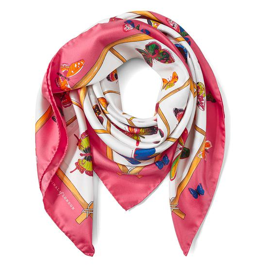 Multi Coloured Butterflies Silk Scarf in Blossom from Aspinal of London