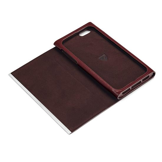 iPhone 6 Leather Book Case in Smooth Cognac & Espresso Suede from Aspinal of London