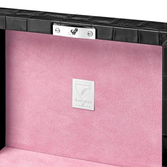 Bijou Jewellery Box in Deep Shine Black Croc & Pink Suede from Aspinal of London